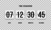 Flip Countdown Clock Counter Timer. Vector Time Remaining Count Down Flip Board With Scoreboard Of D poster