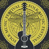 Vector Poster Or Banner For A Festival Of Folk Music With A Guitar On The Background Of Abstract Rou poster