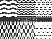 Set Of Waves Geometric Seamless Pattern. Simple Black And White Background Design. Template For Prin poster