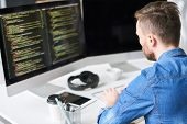 Busy Concentrated Smart Web Designer Writing Code For Computer Program While Typing On Keyboard And  poster