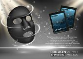 Charcoal Facial Mask Ad. Vector Realistic Background With Black Facial Sheet Mask, Sachet Mockups, C poster