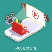 Movie Online Vector Flat 3d Isometric Illustration. Couple Watching Movie While Using Smartphone. poster