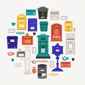 Retro Post Office Card With Vertical Pillar Letter-box, Public Wall Letterboxes And Mail Posts With  poster