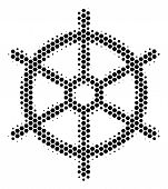 Halftone Hexagonal Boat Steering Wheel Icon. Pictogram On A White Background. Vector Concept Of Boat poster