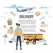 Post Mail Delivery And Postage Service Poster Of Post Shipping Icons. Vector Postman Or Mailman Deli poster