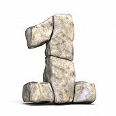Stone Font Number 1 One 3D poster