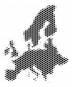 Halftone Hexagonal European Union Map. Vector Geographic Map On A White Background. Vector Collage O poster