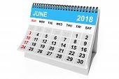 2018 Year Calendar. June Calendar On A White Background. 3d Rendering poster