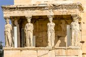 Porch Caryatids Ruins Temple Of Erechtheion Acropolis Athens Greece.  Greek Maidens Columns Temple O poster