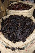 foto of chipotle chili  - Dry Chiles for sale in a market in chiapas mexico - JPG