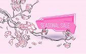 Seasonal Sale Geometric Label With Autumn Tree Branch Sketch. Special Season Price, Retail Marketing poster