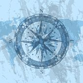 Compass Rose On Grunge Background Of World Map. Geography Research, Worldwide Traveling And Explorat poster