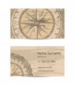Travel Agency Business Card Layout With Compass Rose On Grunge Background. Worldwide Traveling And E poster