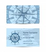 Nautical Company Business Card Layout With Windrose On Blue Grunge Background. Worldwide Traveling A poster