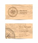 Sailing Tour Business Card Layout With Windrose On Blue Grunge Background. Worldwide Traveling And E poster