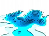 3d Model Of Topographic Map. 3d Rendering, Abstract Topographic Background. Sea Depth. The Concept O poster