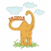 Diplodocus. Vector Illustration Of An Orange Dinosaur. Herbivorous Dinosaur. Painted Dinosaur. Vecto poster