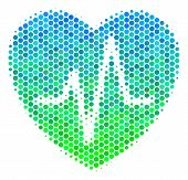 Halftone Dot Cardiology Pictogram. Icon In Green And Blue Color Tinges On A White Background. Vector poster