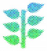 Halftone Dot Flora Plant Pictogram. Icon In Green And Blue Color Hues On A White Background. Vector  poster