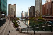 Chicago River Mouth And Downtown Skyline, Chicago, Illinois, Usa poster