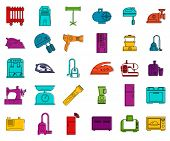 Home Appliances Icon Set. Color Outline Set Of Home Appliances Vector Icons For Web Design Isolated  poster
