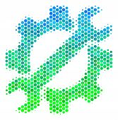 Halftone Round Spot Service Tools Pictogram. Pictogram In Green And Blue Shades On A White Backgroun poster