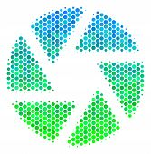Halftone Dot Shutter Pictogram. Pictogram In Green And Blue Color Tints On A White Background. Vecto poster
