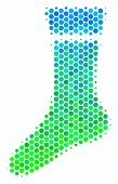 Halftone Round Spot Sock Pictogram. Pictogram In Green And Blue Color Tones On A White Background. V poster