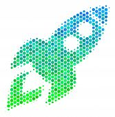 Halftone Round Spot Space Rocket Launch Pictogram. Pictogram In Green And Blue Color Hues On A White poster