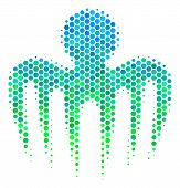 Halftone Round Spot Spectre Octopus Pictogram. Pictogram In Green And Blue Color Tones On A White Ba poster
