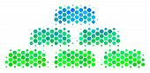 Halftone Circle Treasure Bricks Pictogram. Pictogram In Green And Blue Color Tones On A White Backgr poster
