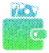 Halftone Round Spot Wallet Pictogram. Pictogram In Green And Blue Color Hues On A White Background.  poster