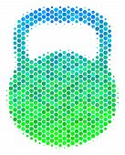 Halftone Round Spot Weight Pictogram. Icon In Green And Blue Color Tones On A White Background. Vect poster