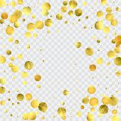 Foil Gold Confetti. Celebrate Background. Watercolor Golden Sparkles And Dots. Explosion Backdrop. L poster