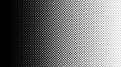 Gradient Halftone Dots Background Horizontal Vector Illustration. Black White Dots Halftone Texture. poster