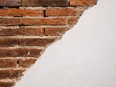 Structure Of Old White Cracked Cement Brick Wall Background. Vintage White Red Stonewall Surface. Re poster