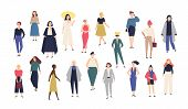 Womens World. Crowd Of Girls Dressed In Trendy Casual And Formal Clothes. Collection Of Female Cart poster