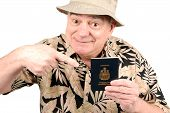 Mature Man In Tourist Outfit poster