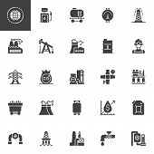 Oil Industry Vector Icons Set, Modern Solid Symbol Collection, Filled Style Pictogram Pack. Signs, L poster