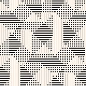 Vector Geometric Pattern. Abstract Graphic Background With Lines, Stripes, Squares, Small Elements.  poster