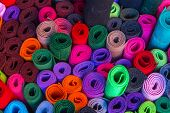 Abstract Background, Vibrant Colorful Multicolored Felt Rolls poster