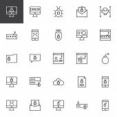 Cyber Crime Outline Icons Set. Linear Style Symbols Collection, Line Signs Pack. Vector Graphics. Se poster