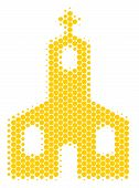 Halftone Circle Christian Church Icon. Pictogram On A White Background. Vector Collage Of Christian  poster