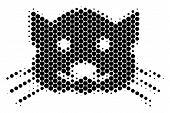 Halftone Circle Kitty Icon. Pictogram On A White Background. Vector Concept Of Kitty Icon Organized  poster