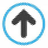 Halftone Round Spot Rounded Arrow Icon. Pictogram On A White Background. Vector Composition Of Round poster