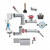 Plumber Items Icons Set. Cartoon Illustration Of 16 Plumber Items Vector Icons For Web poster