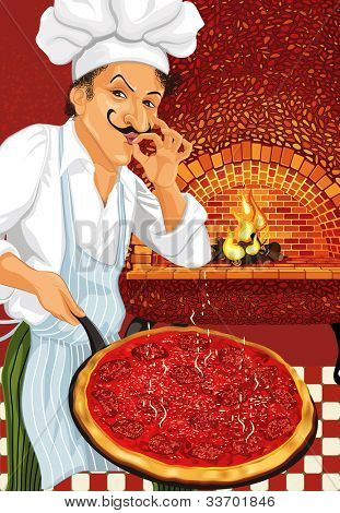 Pizza Chef with just cooked hot pepperoni pizza