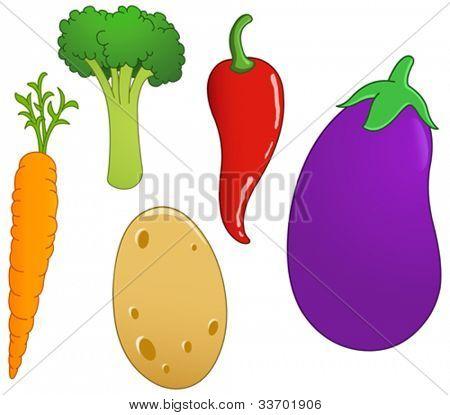 Vegetable set: carrot, broccoli, chili pepper, eggplant and potato