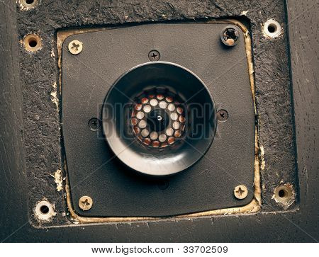 vintage high-frequency loudspeaker - tweeter, closeup