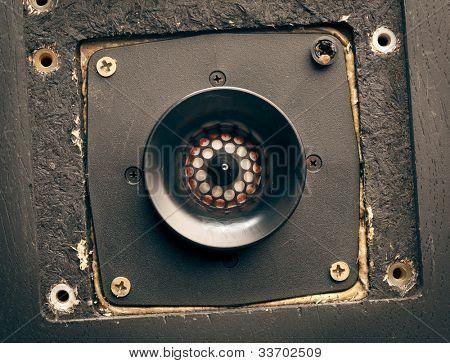 vintage high-frequency loudspeaker - tweeter, closeup